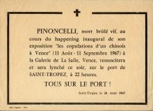 Tract annonçant les funérailles du Double de Pinoncelli, brûlé à Vence, sur le port de Saint-Tropez