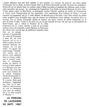 Texte de l'article publié dans La Tribune de Lausanne le 24/09/1967.