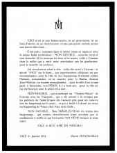 Avis de décès du Double écrit par Pierre Pinoncelli le 1er janvier 1973.
