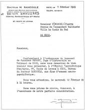 Convocation officielle des psychiatres in plaquette <em>Mourir à Pékin</em>, Pierre Pinoncelli, 1974