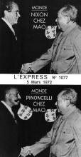 Montage photographique de Pinoncelli serrant la main de Mao à partir d'une page de l'Express n°1077 du 05/03/1972 montrant Nixon et Mao