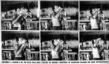 Planche de huit photographies de l'action reproduite in <em>Erik Dietman</em>, 15 juin-29 août 1994, Centre Georges Pompidou, Paris