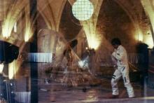 superposition de deux prises de vue présentant Bruno Mendonça pendant sa performance à deux moments espacés de 1 heure environ.