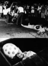 Mise en bière du mannequin brûlé, montage photographique