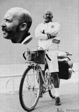 Pinoncelli pose sur la promenade des Anglais avant son départ (montage photographique)