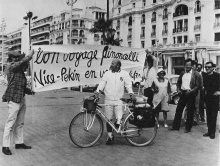 Pierre Pinoncelli au départ sur la promenade des Anglais à Nice (de gauche à droite Claude Gilli, Alexandre de la Salle, Claude Belleudy)